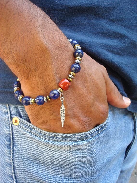 Native American Bracelet With Semi Precious Lapis Lazuli