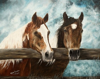 Horses Painting, Western Painting, Original Oil Painting on Canvas 14x18in