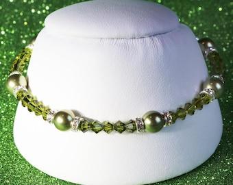 Swarovski Crystal and Pearl Sterling Silver Bracelet in Olivine