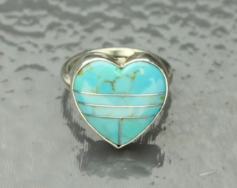 Turquoise Heart Ring in Sterling Silver Turquoise Heart Inlaid Cabochon, Heart Ring, Aqua Blue
