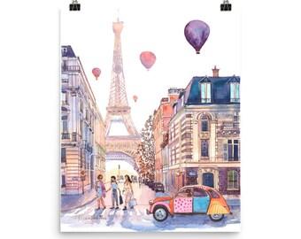 Eiffel Tower and Citroen 2CV in Paris, France POSTER