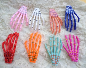 SALE--50 pcs skeleton hand hair clips Mixed colors