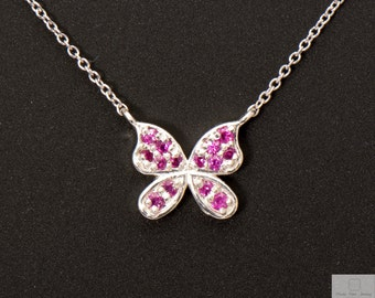 Dainty Pink Sapphire Butterfly Necklace Genuine Sterling Silver 925 with link chain
