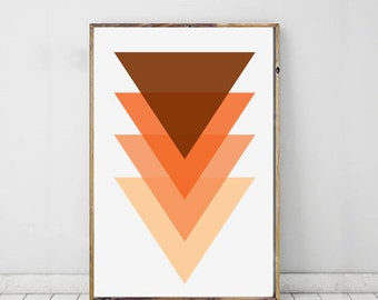 Orange Art, Triangle Art Print Geometric, Orange Wall Prints,Triangle Modern Art, Geometric Print, Triangles