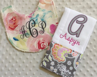 Baby Girl Personalized 2 Piece Gift Set  - Bib and Burp Cloth-Pink Gray Watercolored  Floral Paisley