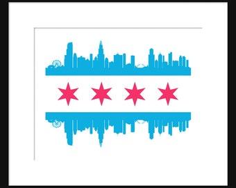Chicago Skyline Print Poster Chicago Flaf