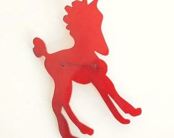 Vintage Red Lucite Pony Brooch