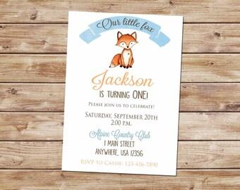 Our Little Fox Invitation-Fox Invitation-Fox Invite- Woodland Birthday-Woodland Invitation-Rustic Birthday Invite