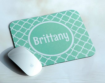 Mint Monogrammed Mousepad, Personalized Gifts for Teachers, Boss, Coworkers, Dorm Room Decor, Administrative Professionals Day Gifts