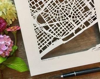 Detroit, Ann Arbor, or Grand Rapids hand cut map ORIGINAL, 10x10.
