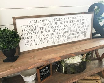 The Rock Of Our Redeemer Helaman 5:12 36x14 MORE COLORS / hand painted / wood sign / farmhouse style / rustic