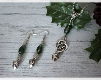Acorn Jewelry Gift Set, Silver Tone Acorn Necklace, Acorn Jewelry, Silver Acorn Earrings, Acorn Charm set, Silver Jewellery Set, Acorn Gifts