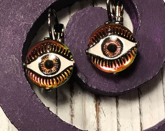 """Crystal 12mm Leverback Earrings with Red """"Eye"""" Cabochons"""