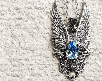 Gothic Jewelry Large Angel Wings Pendant Aquamarine Crystal Necklace Silver Pendant Angel Jewelry for Women// Statement girlfriend GIFT