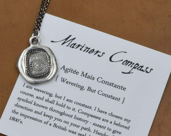 Mariners Compass Wax Seal Necklace Antiqued - Compass Wax Seal Pendant from Antique Wax Seal - 201