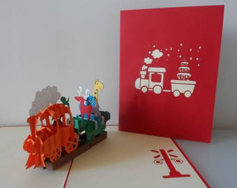 Birthday Train with Animals Pop up Card  Children- Blank- Christening  (sku018)