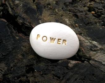 POWER - Ceramic Message Pebble
