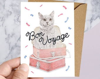 Bon Voyage, Farewell Greeting Card for World Adventurers