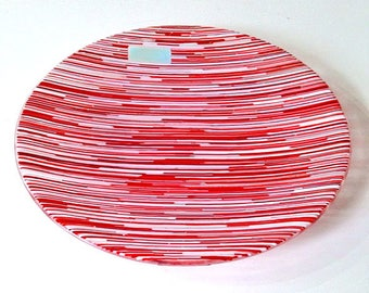 Medium round fused bowl/artwork - Interference - Reds and Whites