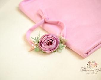 RTS Newborn Pink wrap and tieback set, Newborn Photo prop set, Newborn Photography Prop, 4 way stretch wrap, Newborn tieback.