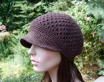 Women's Newsboy Hat, Women's Crochet Hat, Brimmed Adult Hat, Mother's Day Gift, Women's Spring Hat, Brown Cotton Adult Beanie, Hat for Teens