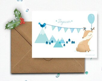 "Map ""Happy holidays"" and its Fawn - envelope kraft"