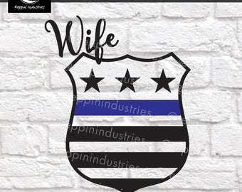 Thin Blue Line Svg, Police Badge Svg, Thin Blue Line Decal, Police Wife Svg, Police Svg, Svg, Dxf, Svg Files for Cricut, Vinyl Decal
