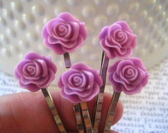 Lilac Bobby Pin Set, 5 pc Flower Hairpins, Purple Hair Accessory, Bridesmaid Gift, Flower Girl, Small Gift, Stocking Stuffer