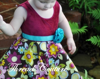 Sewing Pattern Dress Girl's, INSTANT DOWNLOAD, Pdf pattern, Rosette Dress, Girl's Dress Pattern