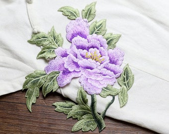 Purple Floral Appliques, Embroidered Patches