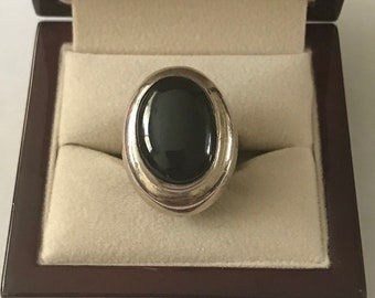 Vintage Sterling Silver and Black Onyx Ring Size 6.5