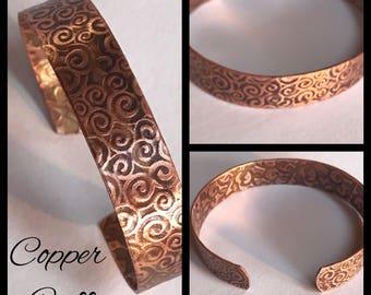 Handmade Copper Bracelet with Swirly Etching