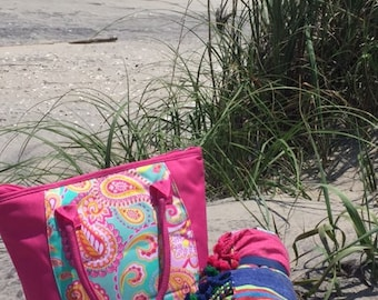 Pink paisley lunch cooler bag lunch tote insulated food bag lunch box Spring break picnic bag drinks Outer Banks BeachHouseDreamsHomeOBX
