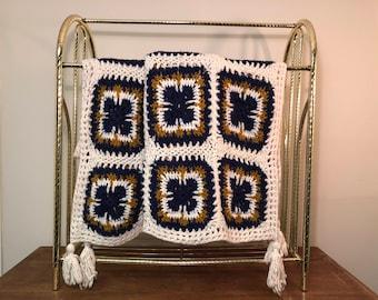 "58"" x 36"" Crochet Granny Square White & Navy Blue Afghan / Lap Blanket / Throw with Corner Tassels"