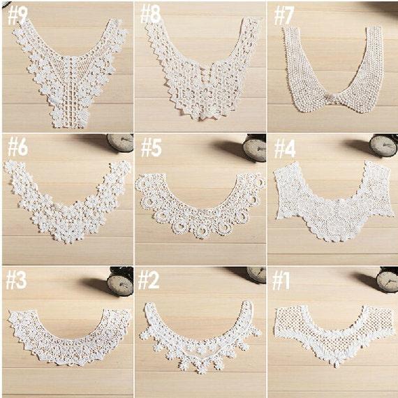 Collar de algodón 9styles para elegir, algodón apliques, blanco ...