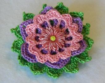Garden Joy Crochet Flower Brooch, Crochet Thread Pin, FB154-01