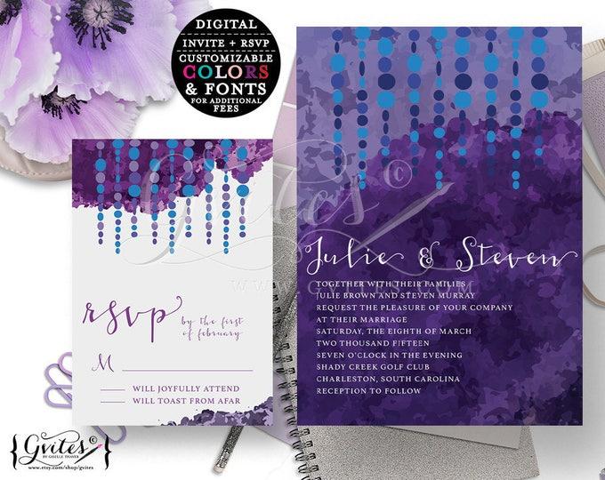 Blue and Purple wedding invitations, eggplant lavender blue plum, burgundy printable invites, designer, couture, elegant, modern invite.