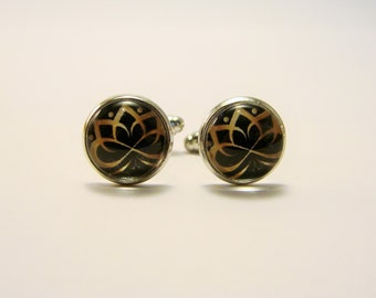 GOLDEN LOTUS Silver Cuff Links -- Spiritual art cuff links for him and her in black and gold, Hindu cuff links