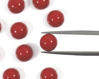 Red Coral, AAA, 8mm Round Smooth Cabochon, Top Quality Lab Created Coral, Red Gemstones, Calibrated Gemstone, 8 mm