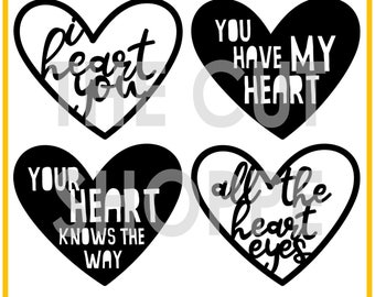 The Heart Eyes cut file includes 4 heart shapes, that can be used for your scrapbooking and paper crafting projects.