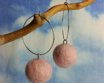 Baby Pink Felted Pom Pom Hoops