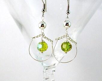 Swinging Peridot Crystal Loop Earrings