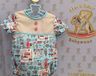 6-9m baby boys ENGLAND handmade romper suit, London print