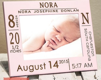 Personalized Birth Announcement Picture Frame w/ stats-Baby Name - Christmas Gift For Grandparents - Wood Engraved