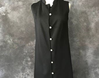 Vintage 1960's black nehru collar tunic rhinestone buttons
