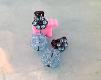 Aqua Drop Clip Earrings