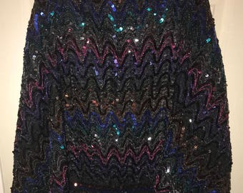 Vintage Women's Colorful Rainbow Ombré Sequin Disco Clubbing Party Bubble Top by MISS H-size S size Small