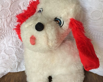 Vintage White stuffed Plush Dog with Red Floppy Ears - Blue Plastic Eyes - Pink Tongue sticking out