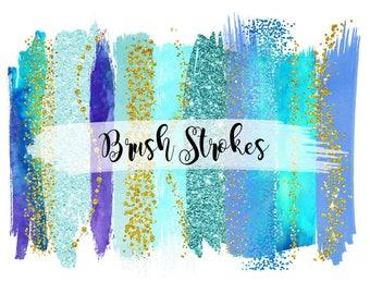 Buy 3 for 9 USD - Blue Brush Strokes Clipart, Gold Glitter Clipart, Gold Confetti, Gold splotches, Gold Splashes, Watercolor Strokes