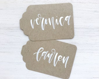 Kraft Paper Gift Tags with White Ink Calligraphy // Rustic Gift Tags, Wedding Favor Tags, Mason Jar Tags, Farmhouse Wedding Decor